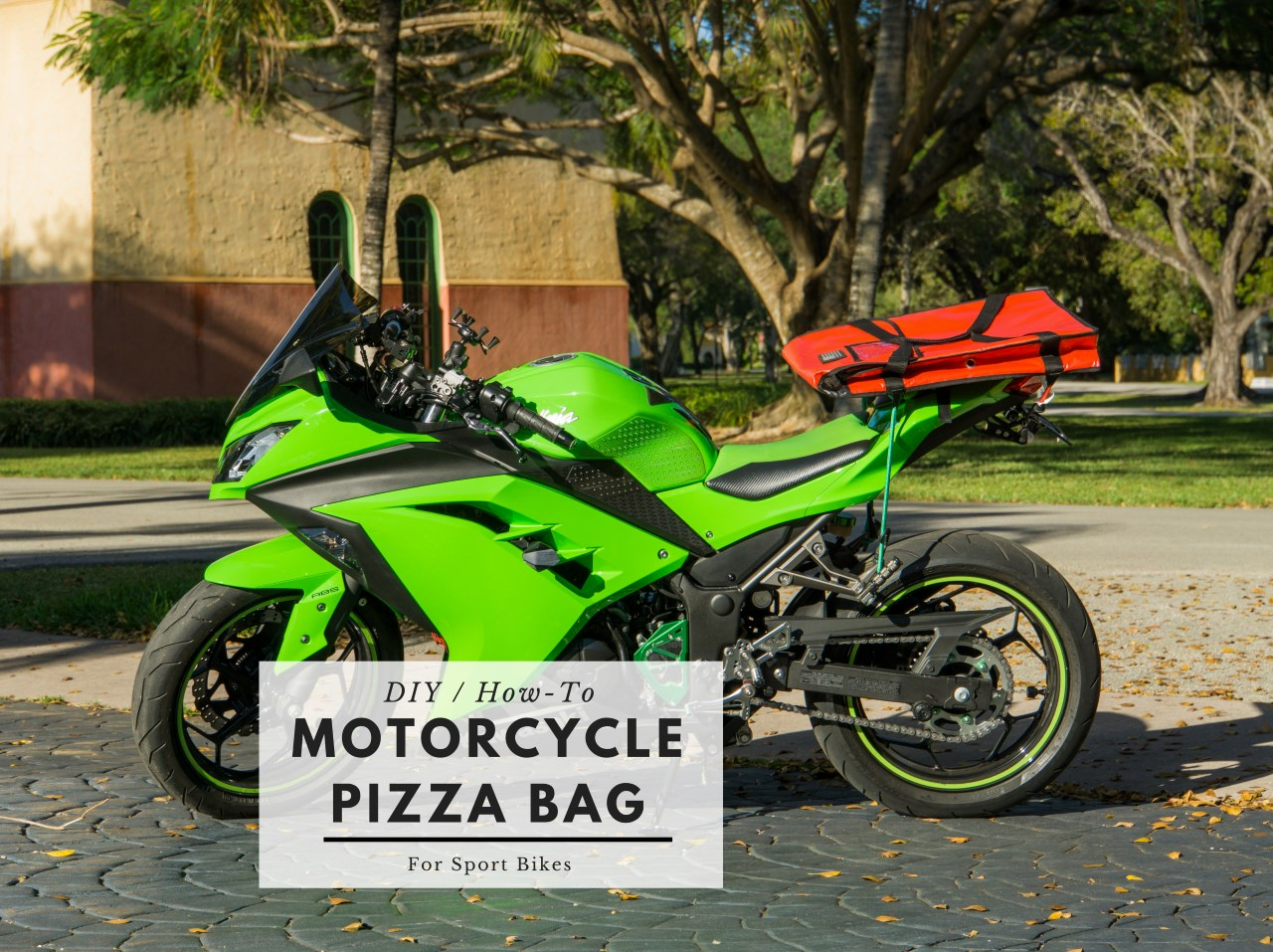 Insulated Pizza Bag for motorcycles on a 2015 Kawasaki Ninja 300 sport bike