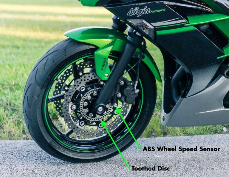 If you need help differentiating the ABS and Non-ABS Ninja 650, look for the wheel speed disc and sensor.