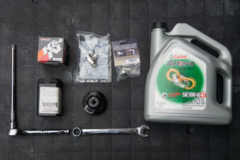 For this motorcycle oil change how-to on the 2017 Kawasaki Ninja 650, these are the things we'll be using.