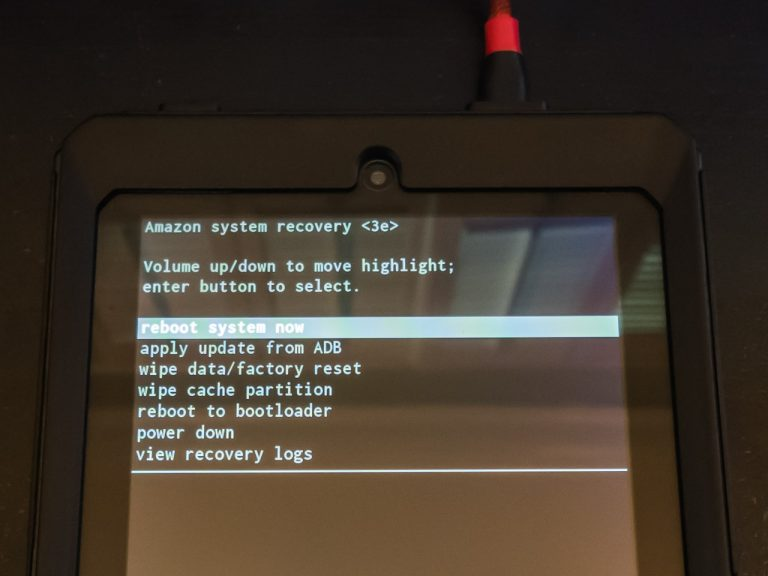 The first real step of the Amazon Fire 7 5th Gen custom ROM install is to wipe the device clean.
