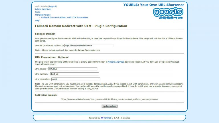 To set up the 'Fallback Domain Redirect with UTM Parameters Plugin', it just takes a moment in your YOURLS backend.