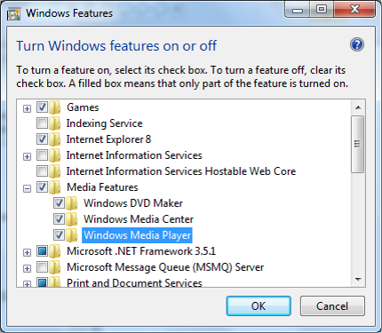 Disable Windows Media Player in Windows Features menu.