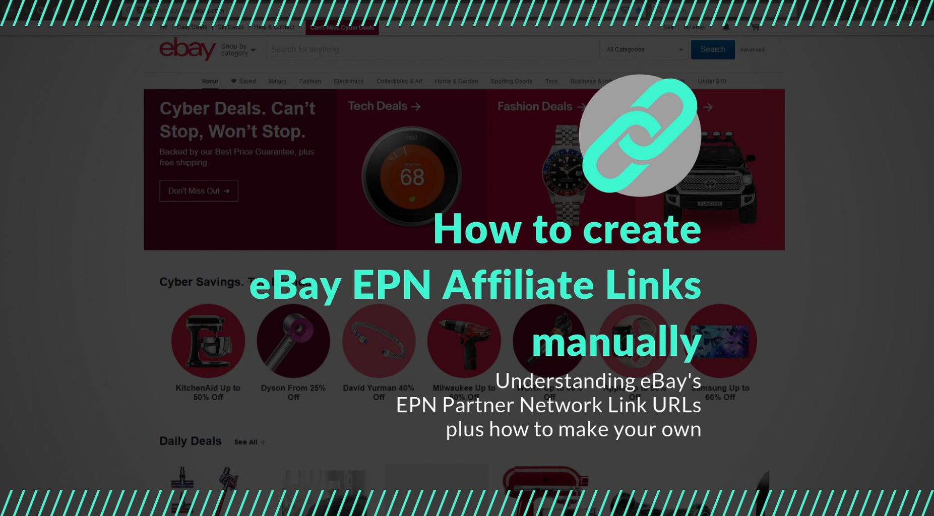How to create eBay EPN Partner Affiliate Links manually - Title Thumbnail